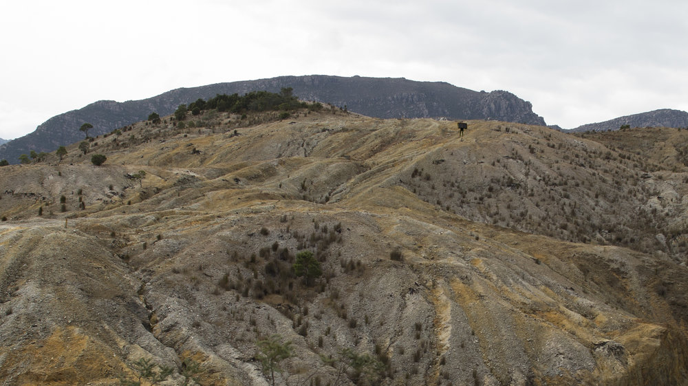 Indicative of work yet to be created. Picture above is Queenstown, Tasmania, the site for filming/ photography of final work. Black Box figure photoshopped in for context.