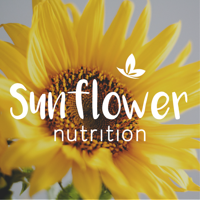 Sunflower Nutrition Logo designed by me applied on top of an image.