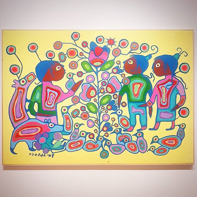 "Got to see some Morrisseau works from the @at_theagh collection this past weekend. While I appreciate the exhibition bringing works out from the vault, the exhibiton feels flat. There are much more to talk with and about Morrisseau, especially in the contemporary context, than a kumbaya ""we are all one big family"" message that the exhibition continues to promote. It's a missed opportunity! . . Artwork: Norval Morrisseau, Children with Tree of Life. . . #AGHMorrisseau #CanadianArt #IndigenousArt #Hamilton #Sunday #criticism #yellow #tree #children"