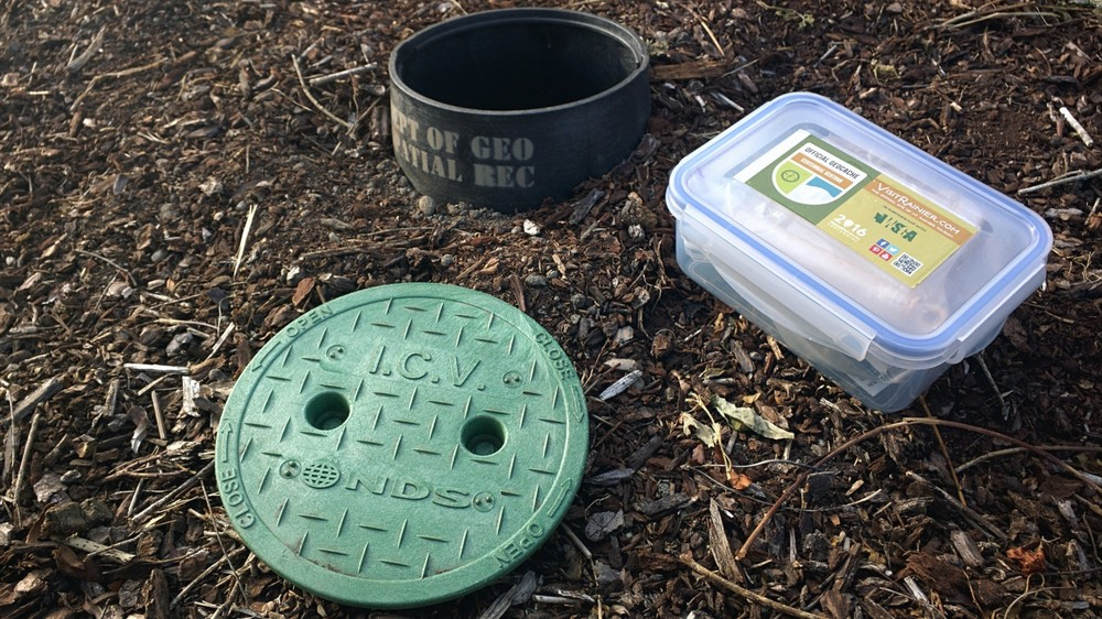 Each geocache is within a waterproof container