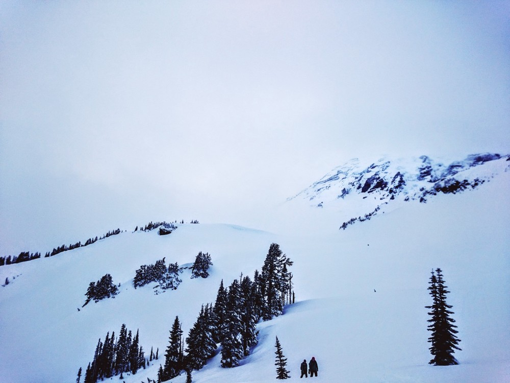 The summit of Mt. Rainier was peeking out every now and then