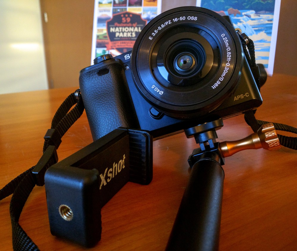Other cameras, like the Sony a6000, easily attach to the XShot Sport Camera Extender Pro