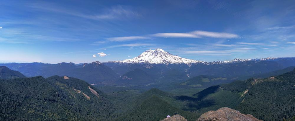 Panorama of Mount Rainier from High Rock