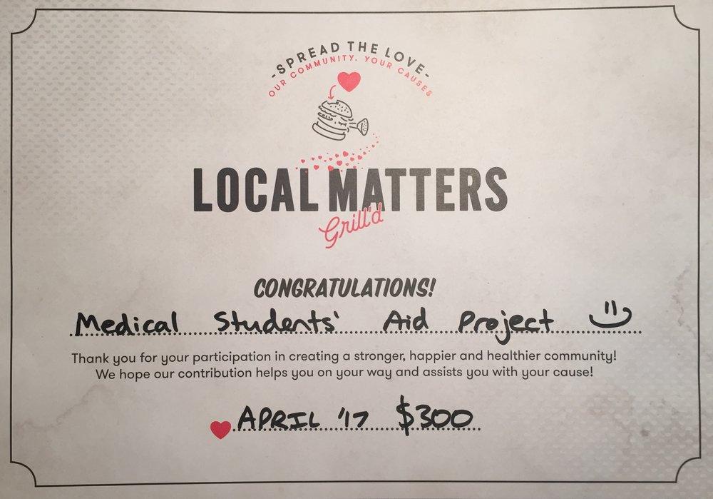 April 2017 Grill'd $300 Local Matters Winner Certificate.JPG