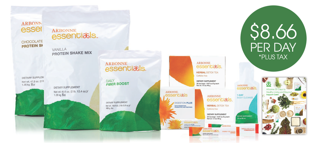 PROTEIN SHAKE- 60 SERVINGS     FIBER BOOST- 1 BAG  ENERGY FIZZ STICKS-60 SERVINGS  DIGESTION PLUS 30 SERVINGS  DETOX TEA- 2 BOXES  GREENS BALANCE- 30 SERVINGS  7 DAY BODY CLEANSE