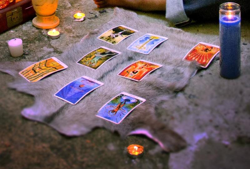 In addition to the tarot, your session may employ such divinatory methods as casting of bones, bibliomancy, and geomancy.