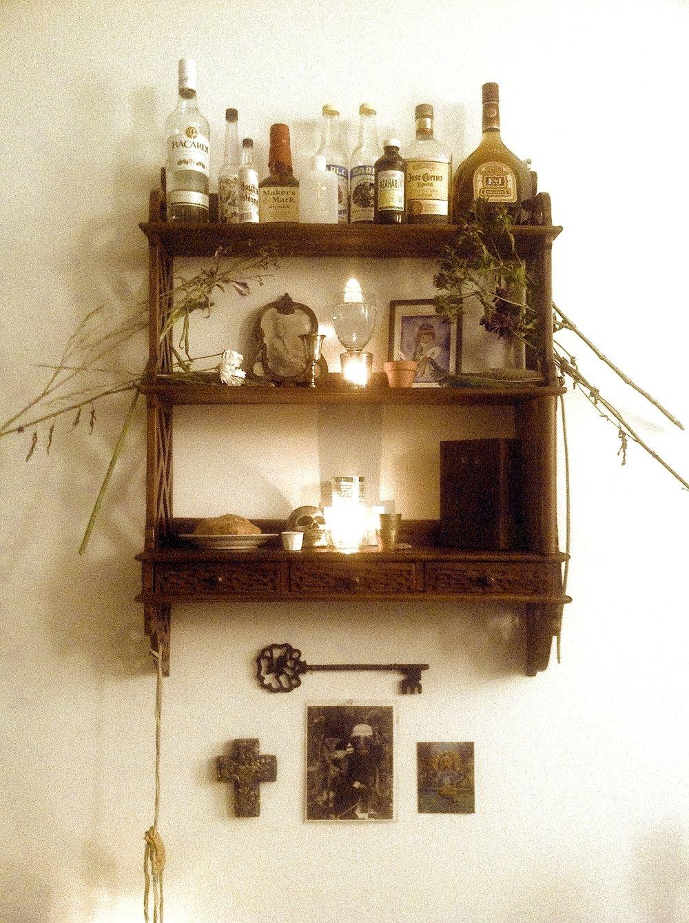 A shrine honoring biological ancestors and ancestors of lineage