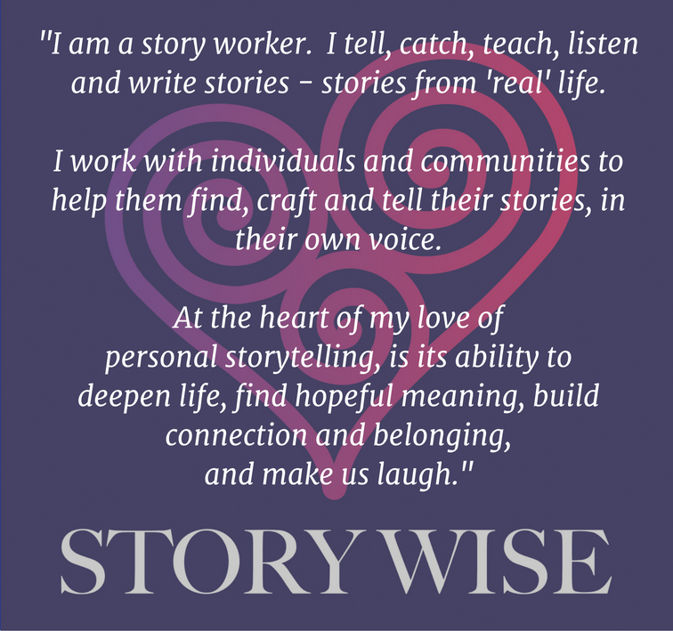 I am a story worker. i tell, catch, teach, listen and write stories - stories from 'real' life.
