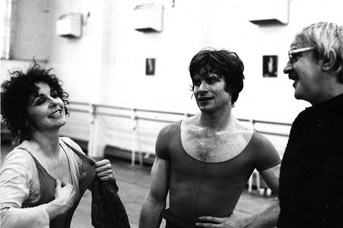 Lynn Seymour, David Wall, Kenneth MacMillan in rehearsal for Mayerling 1978 ©Roy Round