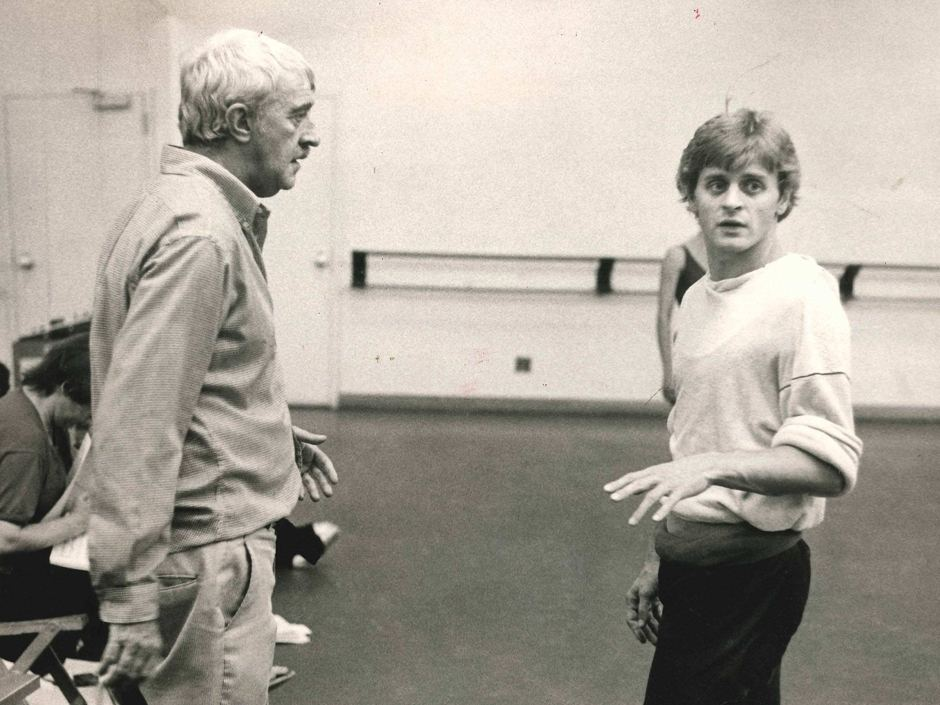 Kenneth MacMillan in rehearsal with Mikhail Baryshnikov for Wild Boy
