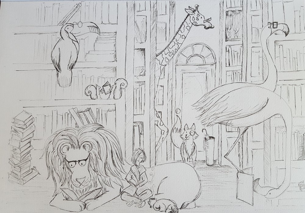 "The initial sketch for ""The Magical Bookshop"". I was, and am, quite excited about this idea. There will be more to come following the same theme - Watch this space :-)"