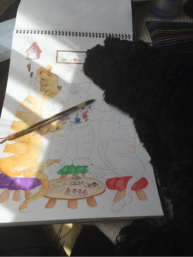 Finding the time to draw can be a challenge in itself. Moreso when your family (in this case, Georgie, our Moodle) would rather we were all doing something else. Georgie features in a lot of my work, but sometimes I get the impression that she's not interested or impressed haha