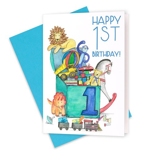 1st Birthday Baby Boy Squid Ink Art Prints Greeting Cards