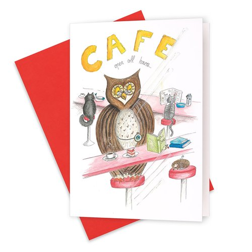 The night caf owl friends greeting card squid ink art the night caf owl friends greeting card m4hsunfo