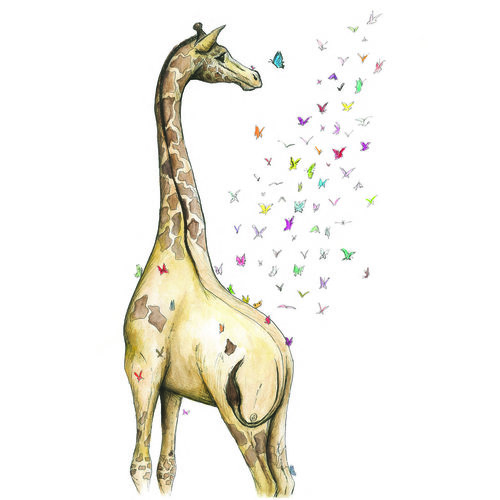 Young Giraffe Squid Ink Art Prints Greeting Cards Growth
