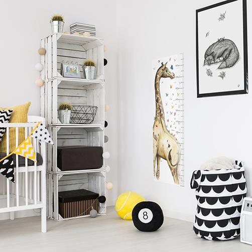 Girafee with butterflies growth chart and fox decor wall art print