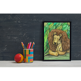 Lion and cub nursery wall art print
