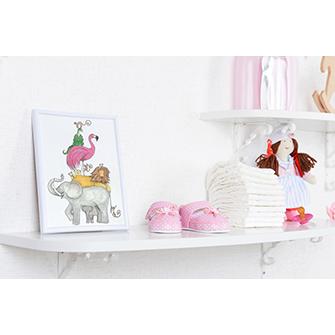 Stack of animals nursery wall art print