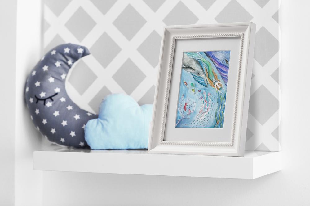 mermaid underwater sea childrens girls decor wall art print