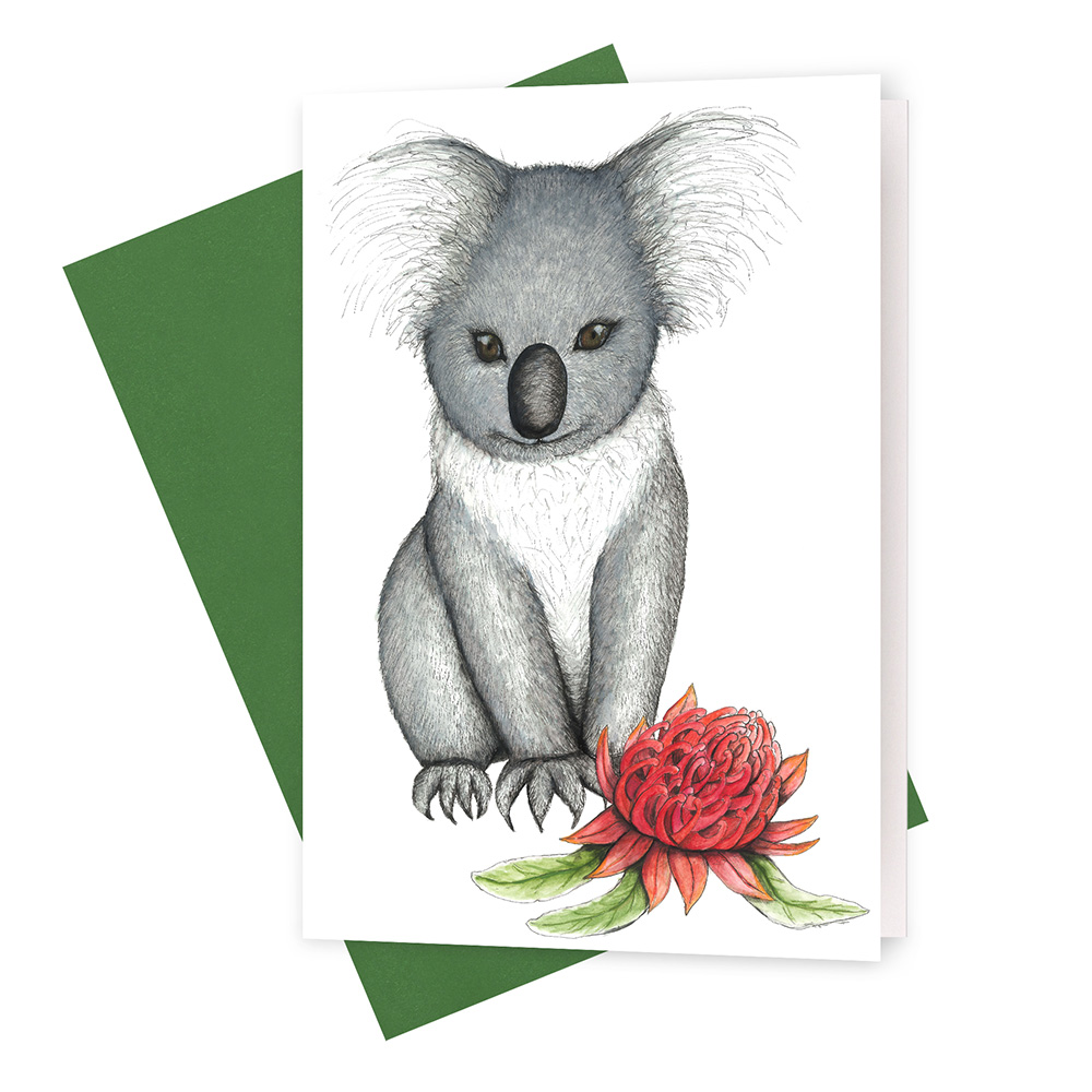 Young Koala With Waratah Greeting Card Squid Ink Art Prints