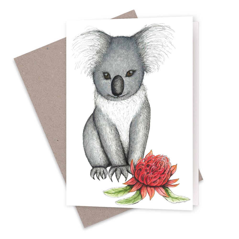 Young Koala With Waratah Greeting Card Squid Ink Art Prints