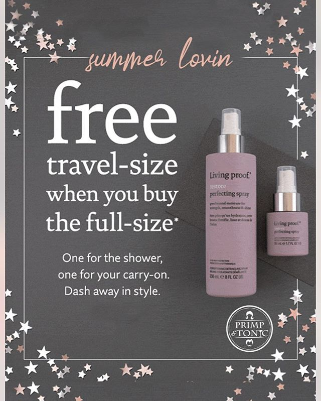 Our summer special is here ! Buy ANY full size product and receive a travel size product of your choice ! While supplies last, we #lovelivingproofproducts #haircare #travelsize #bogo #sweisinc #sweis #livingproof