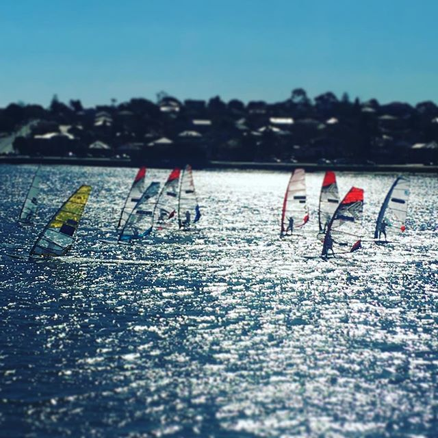 Winter racing on #sydneyharbour Temp 19degC. #raceboardwindsurfing #raceboarding #sailing #sydneysailing #wintertime