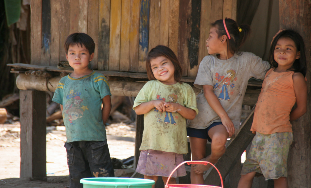 These kids were waiting to get some clean water with their colorful buckets.
