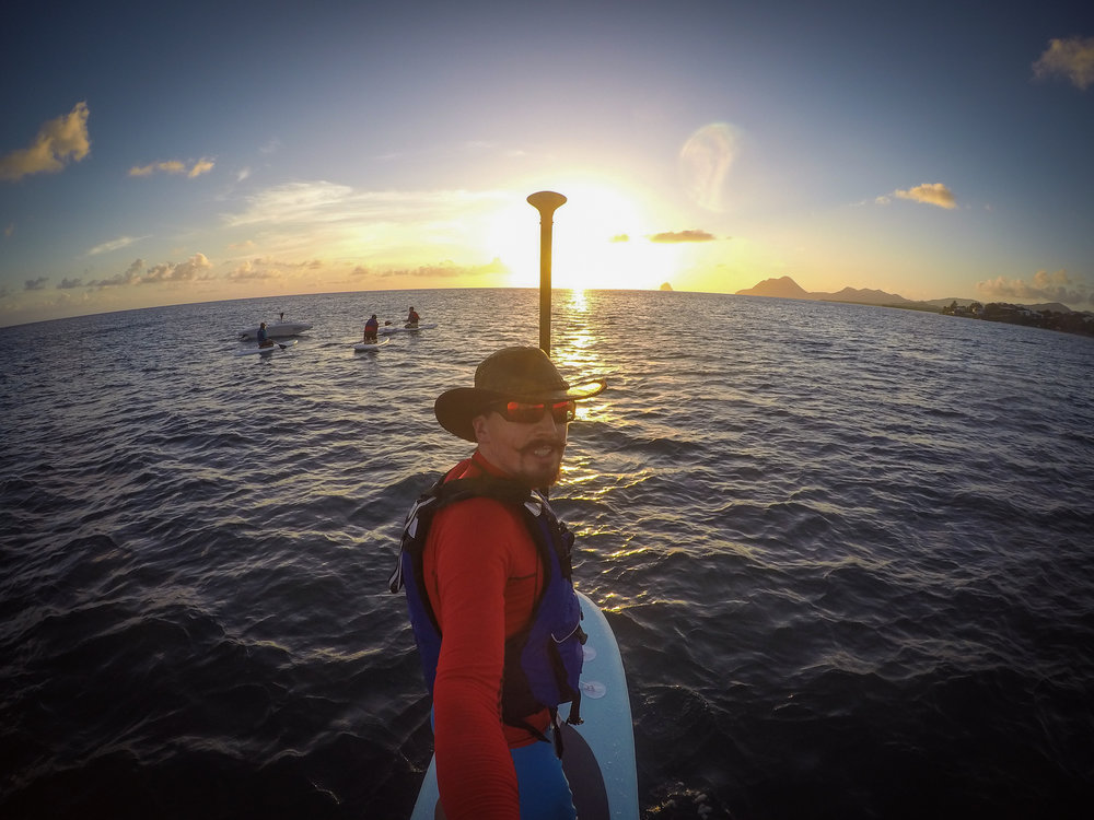 Paddleboarding around Martinique