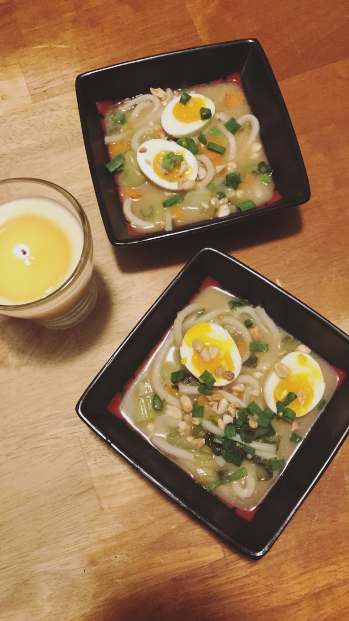 Udon Noodle Soup with miso and soft-boiled eggs