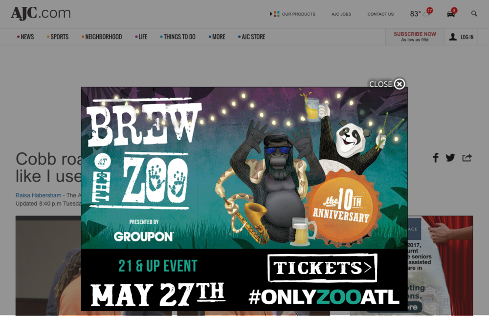 Brew at the Zoo Page Takeover ad, AJC.com
