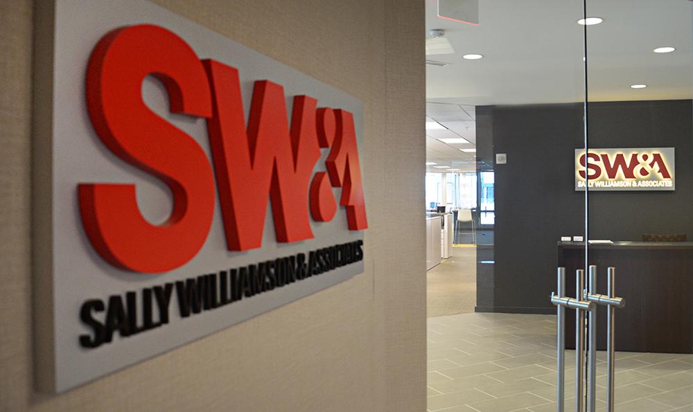 SW&A lobby entrance signage