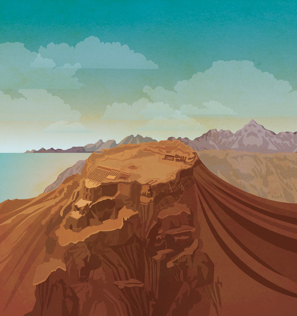 The above is Masada, looking over the Dead Sea. The inspiration for this type of design came from Art Deco travel posters.