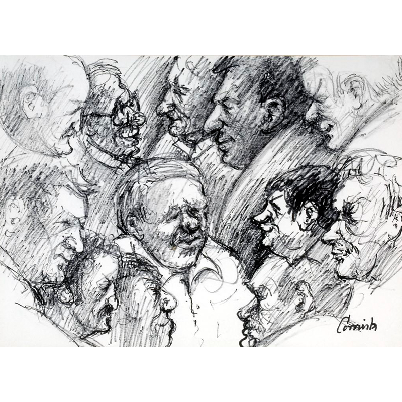 NORMAN CORNISH  MBE (1919 - 2014) Twelve Heads, Spennymoor Bowling Club  on view at Jesmond Dene House   Flo-master pen on paper, 42 x 49cm  £3,400 Framed    ENQUIRE