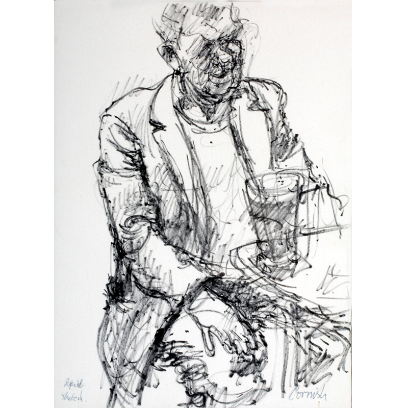 NORMAN CORNISH  MBE (1919 - 2014) Rapid Sketch of Man in Pub  on view at Jesmond Dene House   Flo-master pen on paper, 51 x 41cm  £3,200 Framed   ENQUIRE