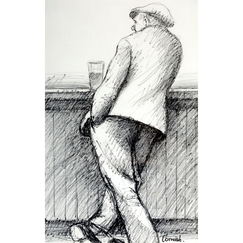 NORMAN CORNISH  MBE (1919 - 2014) Man at Bar  on view at Jesmond Dene House   Flo-master pen on paper, 51 x 39cm  £3,200 Framed    ENQUIRE