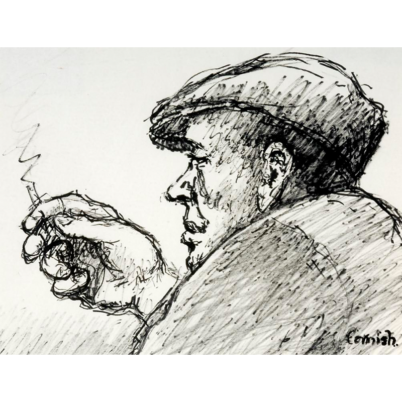 NORMAN CORNISH  MBE (1919 - 2014) Man at Bar with Cap  on view at Jesmond Dene House   Flo-master pen on paper, 50 x 40cm  £3,200 Framed    ENQUIRE