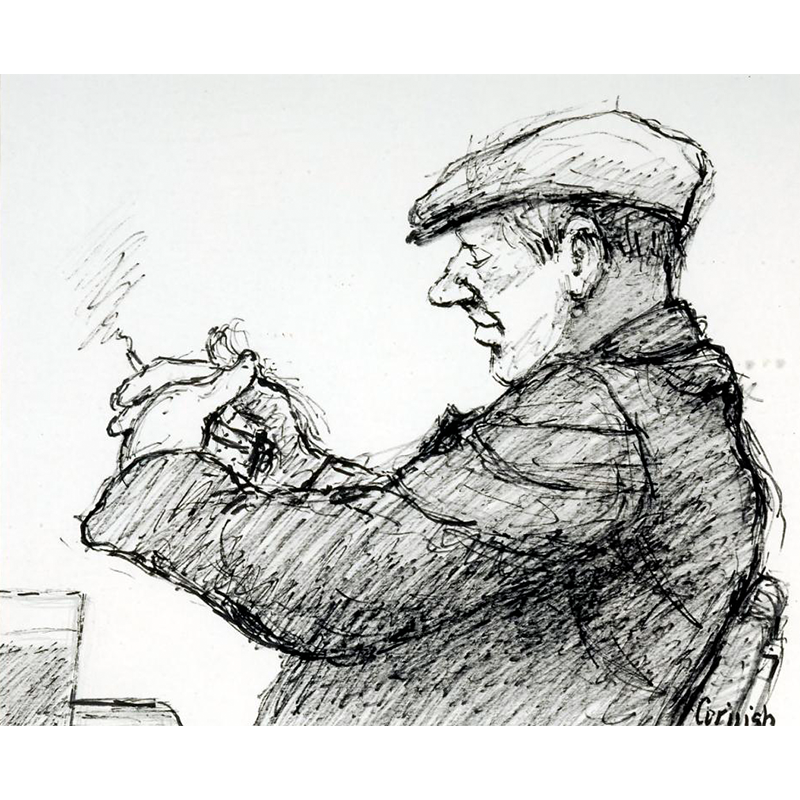 NORMAN CORNISH  MBE (1919 - 2014) Man Checking Dominoes  on view at Jesmond Dene House   Flo-master pen on paper, 40 x 45cm  £3,200 Framed    ENQUIRE
