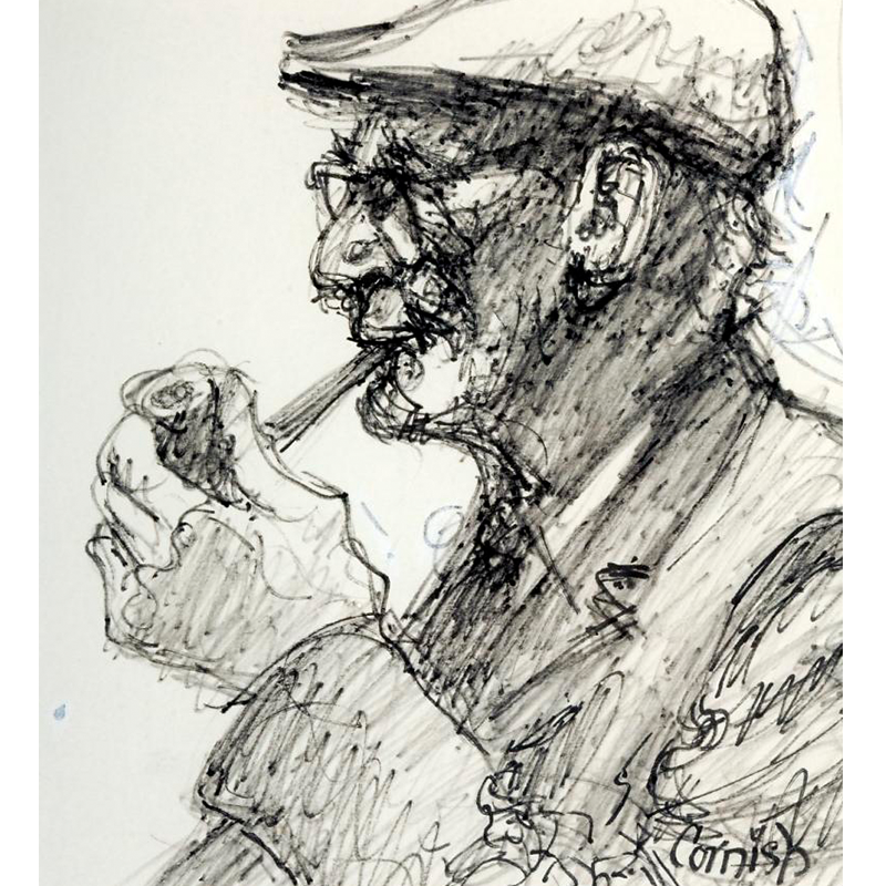 NORMAN CORNISH  MBE (1919 - 2014) Quick Sketch of Old Man in Pub  on view at Jesmond Dene House   Flo-master pen on paper, 42 x 39cm  £3,200 Framed    ENQUIRE