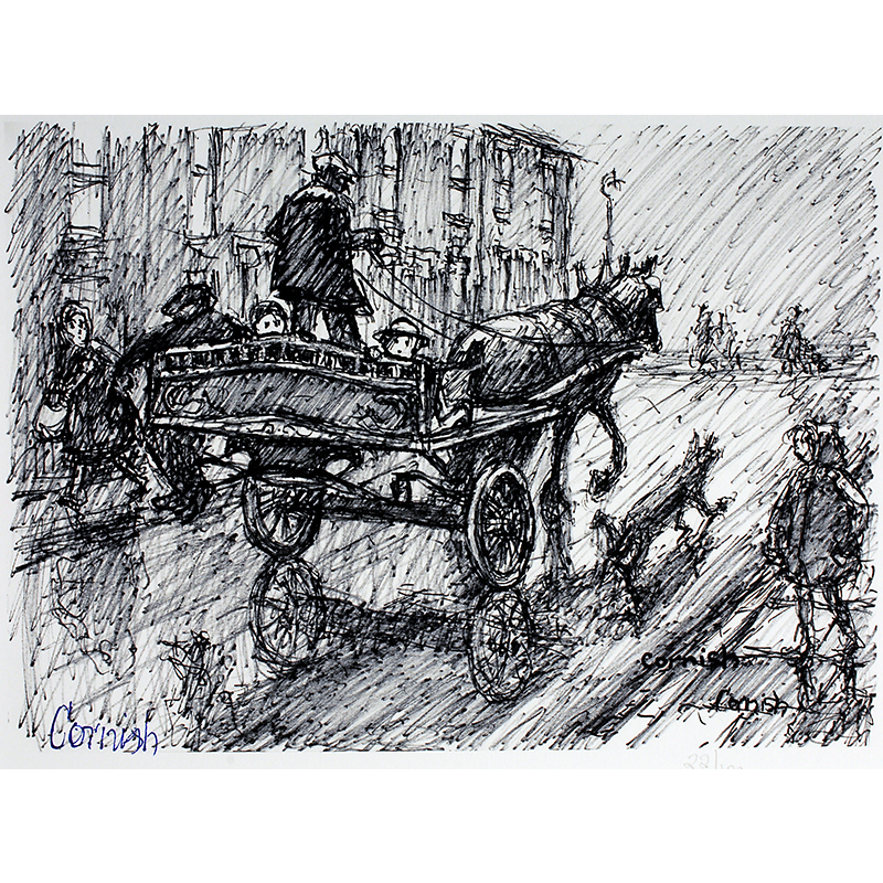 NORMAN CORNISH  MBE (1919 - 2014) Man with Horse and Cart  on view at Jesmond Dene House   Giclée print, edition of 100, 43 x 50cm  £480 Framed   ENQUIRE