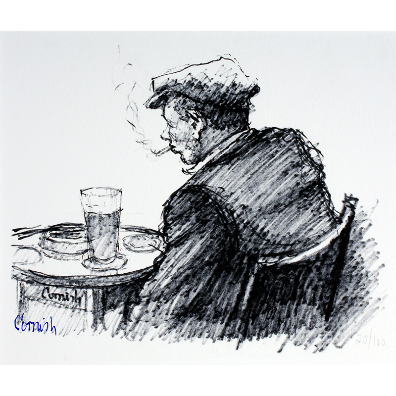 NORMAN CORNISH  MBE (1919 - 2014) Man at Table  on view at Jesmond Dene House   Giclée print, edition of 100, 43 x 50cm  £380 Framed    ENQUI RE