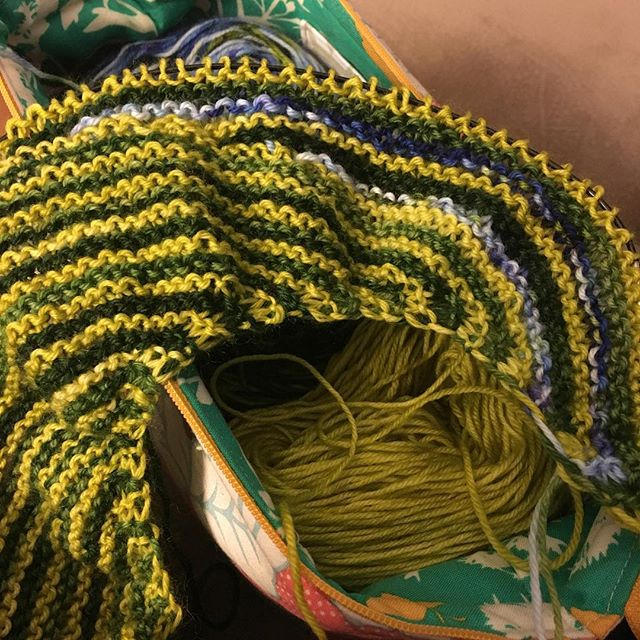 Finally adding color 3 to my #coloraffection #shawl.  #knitting #knittersofinstagram #backyardfiberworks
