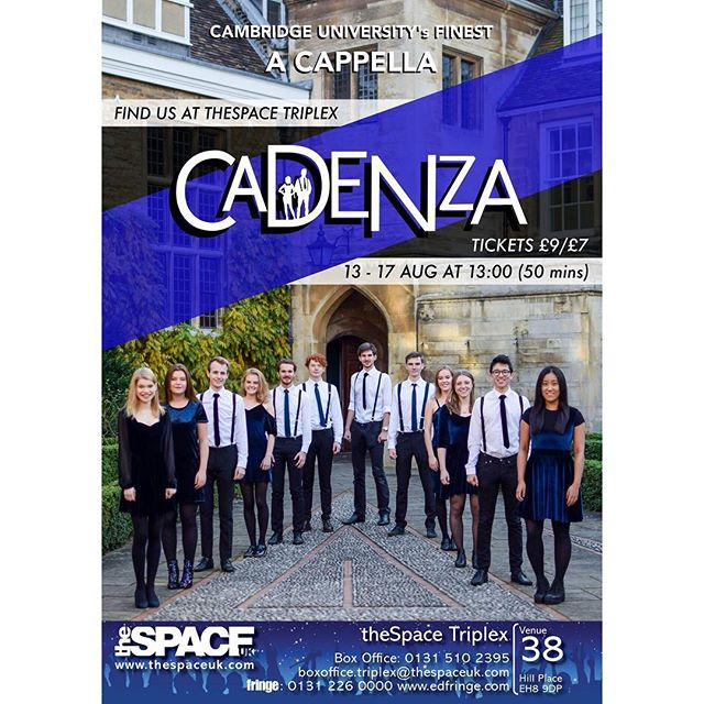 CADENZA IS GOING TO THE EDINBURGH FRINGE FESTIVAL! ✨✨ We're incredibly excited to announce our debut run at the Edinburgh Fringe Festival from 13th-17th August! We've been working on this for a while and we can't wait to bring our best dad-dancing (and some singing) to one of the best festivals for a cappella in the world!  You can catch us from Monday 13th-Friday 17th August at 1pm at theSpace Triplex - make sure you grab your tickets below and spread the word! 🙌🏼🙌🏼 For tickets & more info about the show, click the link in our bio!!! 👀👀 **But wait! There's even more exciting news still to come so keep your eyes peeled!** 👀👀
