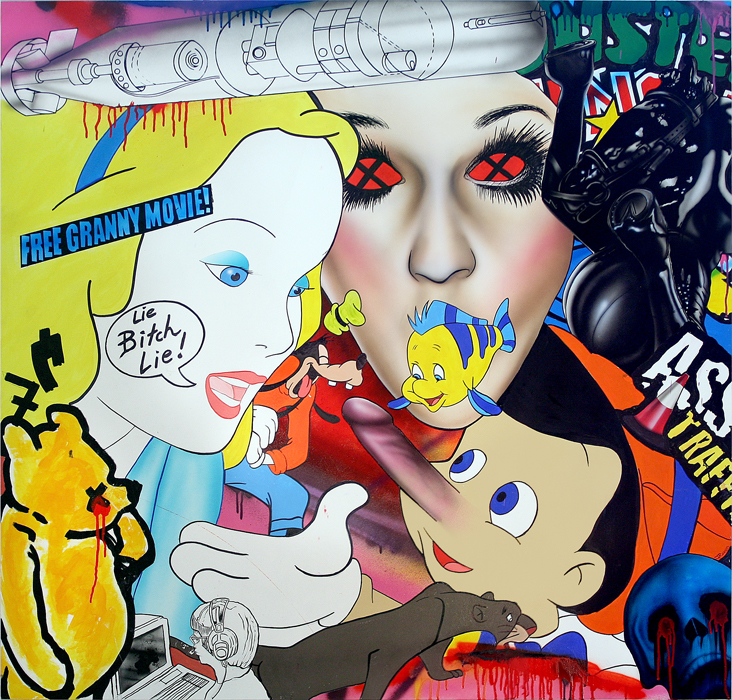 'LIE BITCH' OIL/ACRYLIC/SPRAY PAINT ON BOARD 117 X 122 CM -Enquire about this work-
