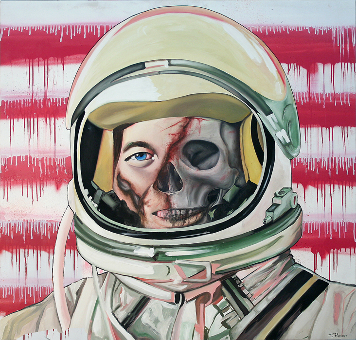 'STRANDED IN SPACE' OIL & SPRAY PAINT ON BOARD 117 X 122 CM -Enquire about this work-