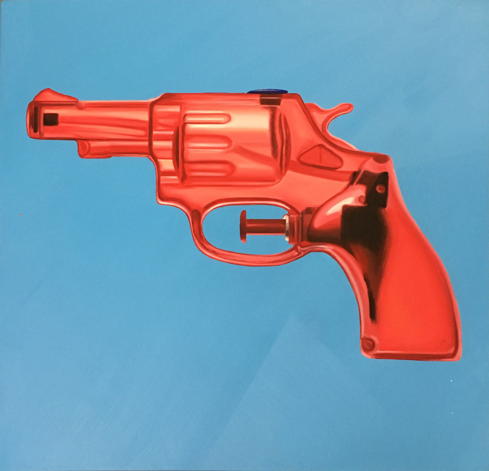 Red Revolver Oil & Acrylic on canvas 75 x 75 cm