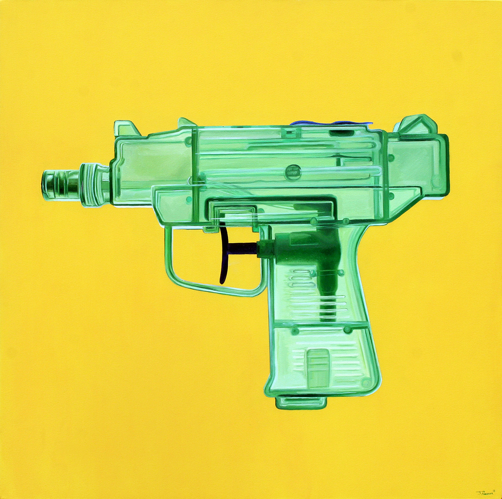 Green UZI Oil & Acrylic on canvas 100 x 100 cm