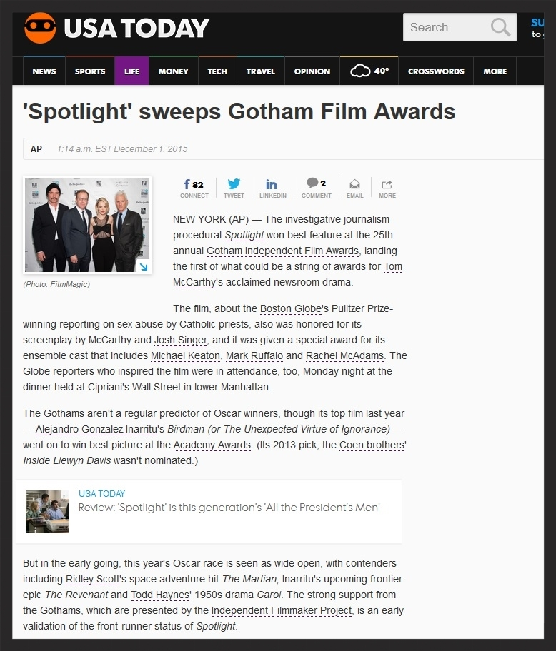 USA Today - Gotham Awards