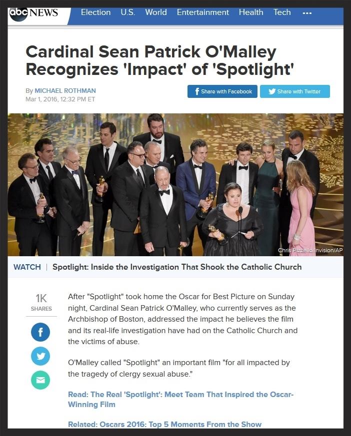 ABC- Cardinal Recognizes 'Spotlight' Impact