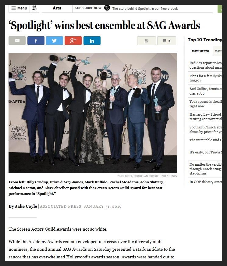 The Boston Globe - SAG Awards